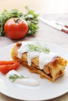 Clatite umplute cu pui si ciuperci,la cuptor | Pasiune pentru bucatarie