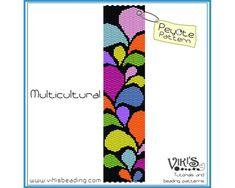 Peyote Bracelet Pattern: Multicultural por VikisBeadingPatterns