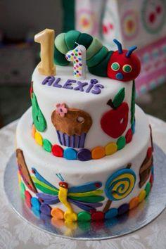 Alexis' birthday cake - The Very Hungry Caterpillar