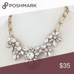 💟New Arrival 💟J Crew Crystal Statement Necklace NWOT never been worn beautiful J Crew crystals statement necklace.  A timeless piece that will go with any outfit. J. Crew Factory. J. Crew Jewelry Necklaces