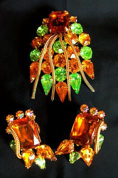 VINTAGE Sarah Coventry sparkle! Amber Peridot Brooch/pendant and earring set   eBay