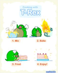 Cooking with T-Rex! #squishable #plush #art #comic #cute #trex