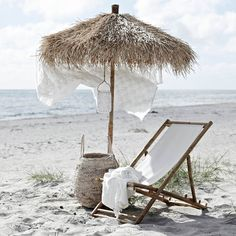 Our Mandisa Lounger is a natural bamboo deckchair with white canvas seat Summer Beach, Summer Vibes, Summer 2016, Spring Summer, Summer Jam, Boho Home, Decoration Inspiration, Parasol, Summer Aesthetic