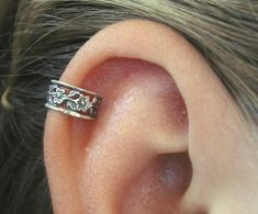 ear cartilage piercing | Ear Cuff - Floral Lace - Cartilage - Sterling Silver - SINGLE SIDE