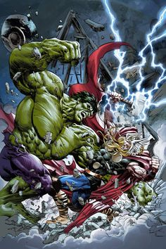 Hulk vs Thor / Young Avengers Variant Cover by Mike Deodato Jr. Hulk Vs Thor, Hulk Marvel, Marvel Heroes, Hulk Avengers, Avengers 2012, Captain Marvel, Comic Book Characters, Comic Book Heroes, Comic Books Art