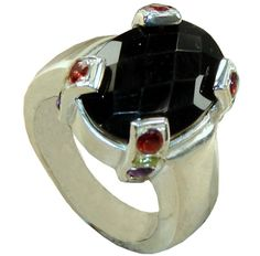 Stunning Ring with Onyx, Garnet Faceted Gemstones, 925 Sterling Silver Jewelry Setting with Natural Gemstone $110