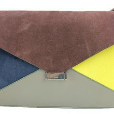 Suede & Pony Hair Diamond Clutch  Bag BG-#294437 Signs of wear with markings on suede and leather. Markings and scratches on interior . Celine Bags Shoulder Bags