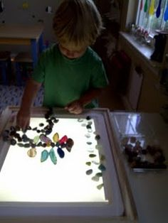 light table and stones