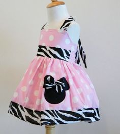 MINNIE MOUSE Custom Halter Dress Pink And Zebra by FunUpTownGirls, $29.00