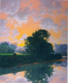 The River at Ascutney by Maxfield Parrish, 1942. Oil on panel