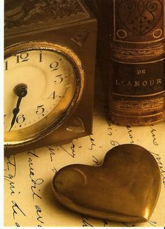 Gold heart, clock and book I Love Heart, With All My Heart, Key To My Heart, Heart Of Gold, Golden Heart, Heart Beat, My Funny Valentine, Valentines, Felt Hearts