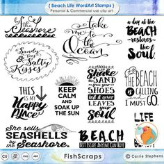 Beach life word art, summer fun in the sun, sand, ocean, seashells Beach Life Quotes, Summer Quotes, Beach Sayings, Life Is A Beach, Digital Stamps, Digital Scrapbooking, Word Art, Motivational Words, Inspirational Quotes