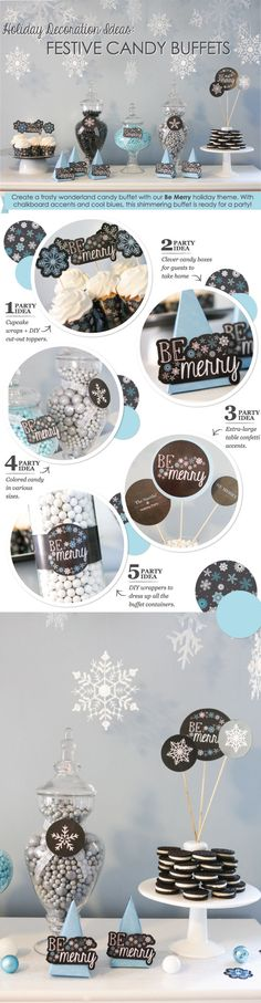 Holiday Candy Buffet Ideas: Blue and Black Color Scheme #BigDot #HappyDot
