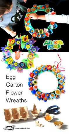 Egg Carton Flower Wreaths