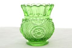 Fun roly poly green glass toothpick holder