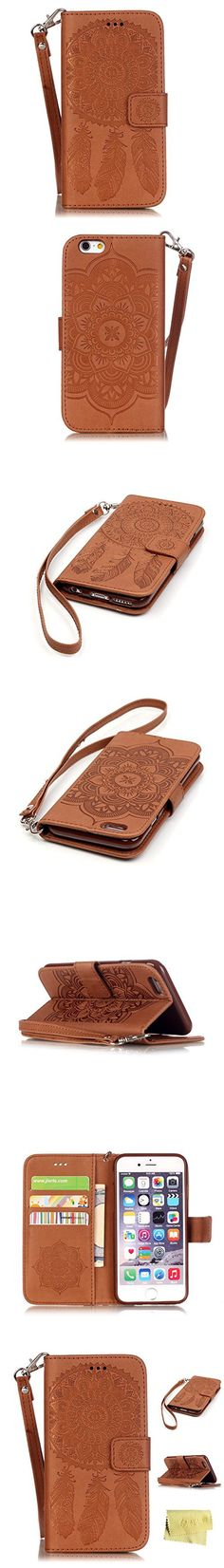 IPhone 6s Plus Case,iPhone 6s Plus Wallet Case,MT Mall(TM) for iPhone 6 6s Plus PU Leather Case[Hand Strap]Flip Folio Magnetic Design[Built in Credit Card Slots]with Dream Catcher Pattern