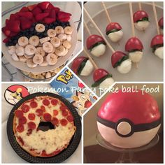 Pokemon party pokeball foods like pizza bagels, caprese bites, fruit platters and cake 12th Birthday, 6th Birthday Parties, Birthday Bash, Birthday Ideas, Pokemon Themed Party, Pokemon Birthday, Pokemon Go, Pikachu, Pokemon Pizza