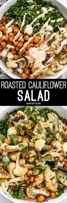 This Roasted Cauliflower Salad combines sweet roasted red onions, spiced chickpeas, tender cauliflower, and a tangy lemon tahini dressing. paleo dinner salmon