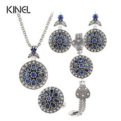 Vintage Jewelry Set Round Crystal Flower Earrings /Bracelets/ Pendant Necklace / Ring For Women Turkish Jewelry //Price: $20.99 & FREE Shipping //     #interior #room #kitchen