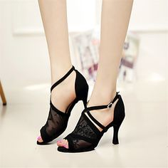 Customizable Women's Dance Shoes Latin/Dance Sneakers/Performance Lace Stiletto Heel Black – EUR € 44.99