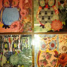 Modge podge scrapbook paper owls on canvas