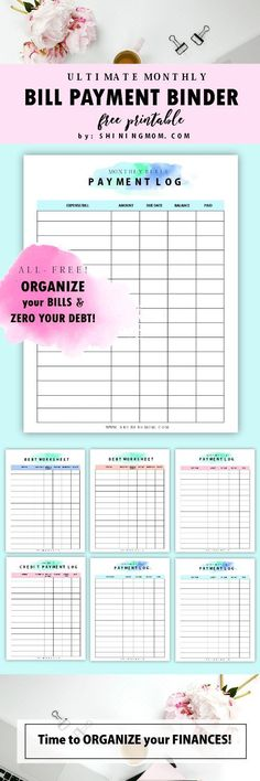Download these free monthly bill payment log printables! They're pretty!