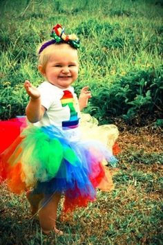 Rainbow First Birthday TuTu by ChelseasCustoms on Etsy, $30.00