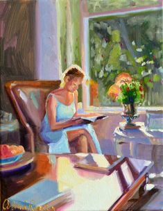 Art Print of Original painting of IN THOUGHT a by CECILIAROSSLEE