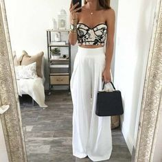 Skirt: top summer crop tops white crop tops black and white black crop... ❤ liked on Polyvore featuring high waisted two piece and white two piece