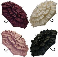 Ruffled Umbrellas. Just cut strips of fabric & make a ruffle with your sewing machine then use a glue gun to glue it down - super cute.
