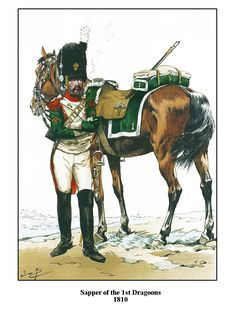 Sapper of the 1st Dragoons 1810, by JOB (Jacques Onfroy de Breville).