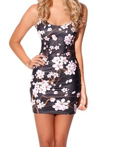 EAST KNITTING FASHION BL-396 2014 New Spring women digital printed Cherry Blossom Black Dress  1786690401