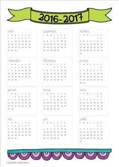 Calendrier 2016-2017 sur une page b
