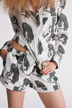 PRE ORDER FOR MARCH DELIVERY: Sansindo Tiger Print Short Luxury Cotton Womens Pyjama Set - White/Green