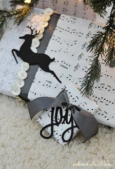 Love these!—Reindeer Cardstock Silhouette in Black (and 'Joy' silhouette) to enhance/embellish your Christmas gift wrapping or home decor. Dear Lillie