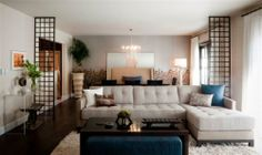 Living room décor, room divider / partition, ottoman, tufted