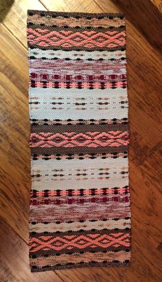 Hand woven Rosepath rag rug using flannel sheets
