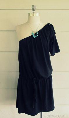 WobiSobi: One Shoulder Tee-shirt Dress, DIY. Two t-shirts and just three straight seams! Totally rad.