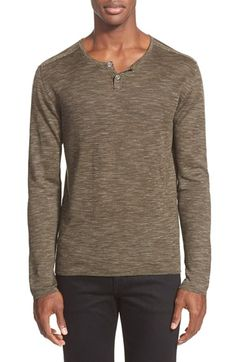 John Varvatos Collection Linen & Cotton Pique Henley Sweater