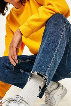 Loom Jules Dark Blue Cropped Jeans | Urban Outfitters | Men's | Jeans #uoeurope #urbanoutfitterseu #UOMens