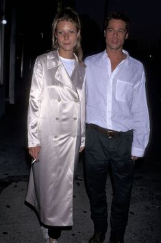 30+ Times '90s Gwyneth Paltrow Was Our Style Crush #refinery29  http://www.refinery29.com/2016/03/106619/gwyneth-paltrow-lookbook-throwback-90s-fashion#slide-25  Living in Oblivion Premiere, 1995Words don't do service how weird, excited, and then sad this coat makes me feel. A double-breasted silk coat with a white T-shirt underneath is a thing of immeasurable beauty. Brad looks cute, too. ...