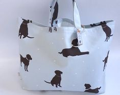 Your place to buy and sell all things handmade Looking Forward To Seeing You, Unique Bags, Market Bag, Animal Design, Storage Baskets, Cotton Tote Bags, Dog Lovers, Labrador, Shoulder Bags