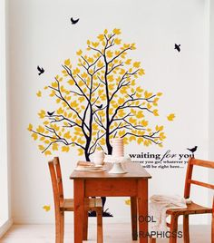 Two Love Trees Vinyl wall decals trees wall by coolgraphicss