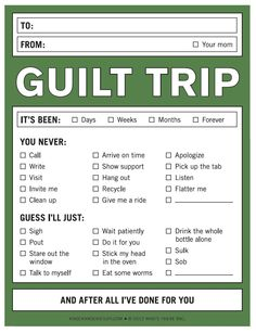 Ahhh , Those Guilt Trips I went on so many trips with my parents that I can't even begin to count them. These trips weren't fun tri. Funny Lists, Funny Note, Guilt Trips, Pep Talks, I Cant Even, Adult Humor, Just For Laughs, Knock Knock, Make Me Smile