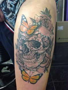 Skull butterfly tattoo by nick limpens royal ink