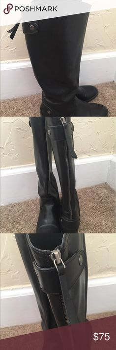Black Leather Riding Boots Worn only once!! Great condition: super comfortable: trendy riding boot Shoes Combat & Moto Boots