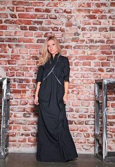 SWEATER DRESS/ BLACK MAXI DRESS/ WOOL DRESS