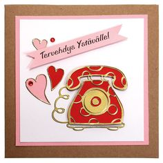 Ääriviivatarrojen avulla valmistettu ystävänpäiväkortti. Tarvikkeet ja ideat Sinellistä!