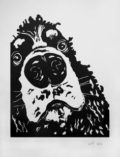 Curious Cocker Spaniel black and white  original por TheInkeryStore, £20.00