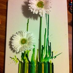 Flower melted crayon canvas